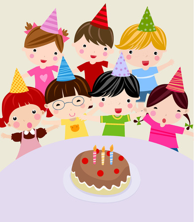 Children with a birthday cake. illustration.  Vector