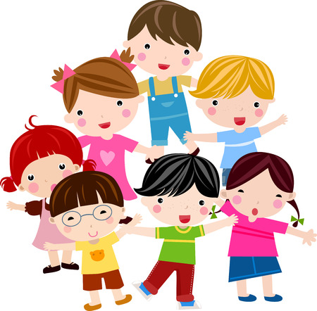 Illustration of cute group of children Vector