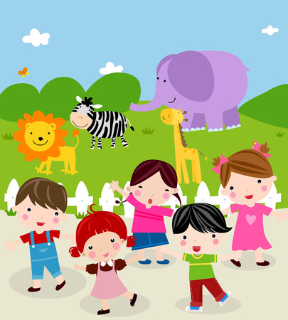 Illustration of cute group of children at the zoo