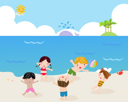 cartoon summer: Children on the sunny beach -illustration art