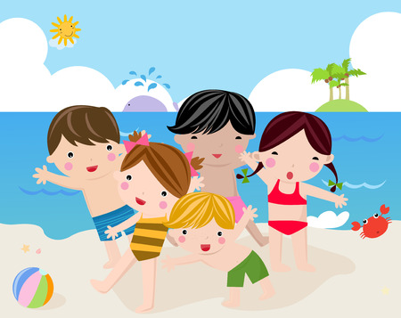 beach ball girl: Children on the sunny beach -illustration art