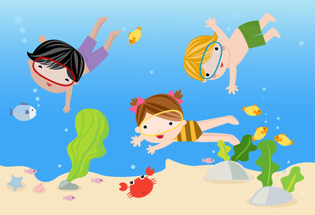 cartoon swimming: boy and girl on tropical holidays , illustration