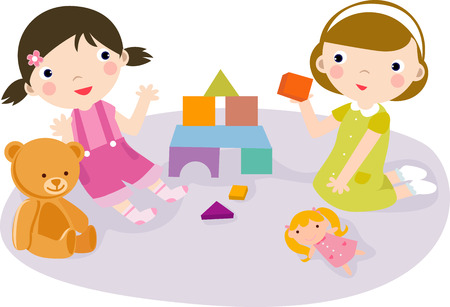 Illustration of two cute girls and toy