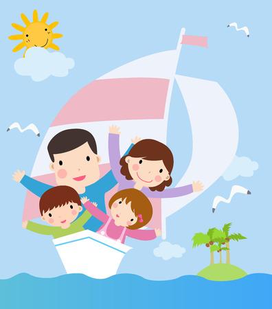 cute family in ship. cartoon vector illustration