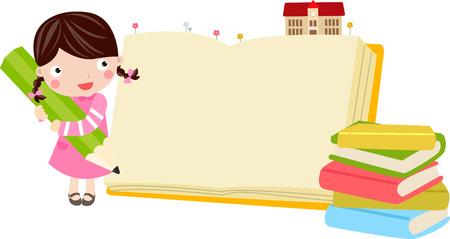 schooler: Illustrazione di una ragazza carina con la matita e il libro