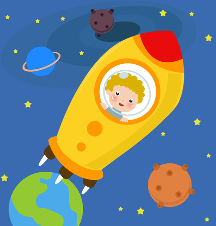 Illustration of a cute ti-astronaut boy Vector