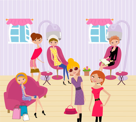 cartoon hairdresser: women in a beauty salon getting a hairstyle and manicure