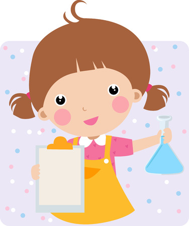 science cartoon: Illustration of cute girl in a chem lab - vector  Illustration