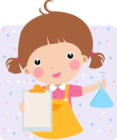 experimento: Ilustraci�n de una chica bonita en un laboratorio chem - vectoriales  Vectores