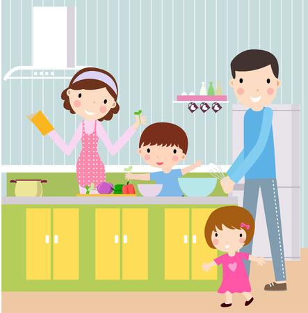 Ilustración de una familia feliz con dos de los niños de cocinero