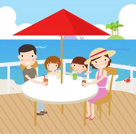 Ilustración de un picnic familiar feliz y ocios