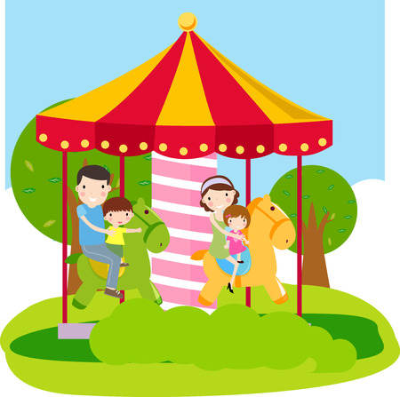 Illustration of a happy family with two children on holiday  Stock Vector - 8039349