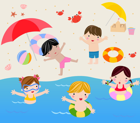 family vacations: Illustration of cute group of boys and girls summer holiday