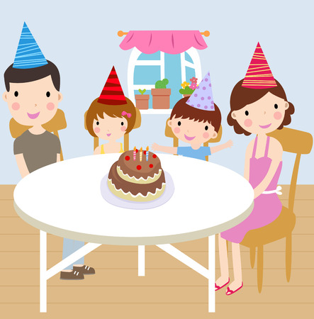 ease: Illustration of a happy family birthday party