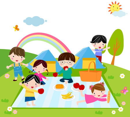 picnic food: Illustration of cute group of kids camp