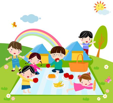 manzana caricatura: Ilustraci�n de lindo grupo de campamento de ni�os  Vectores