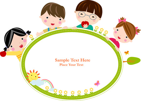 Illustration of cute group of children and frame