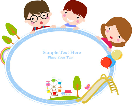 flier: Illustration of cute group of children and frame