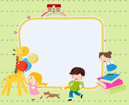 best schools: Illustration of cute group of children and frame