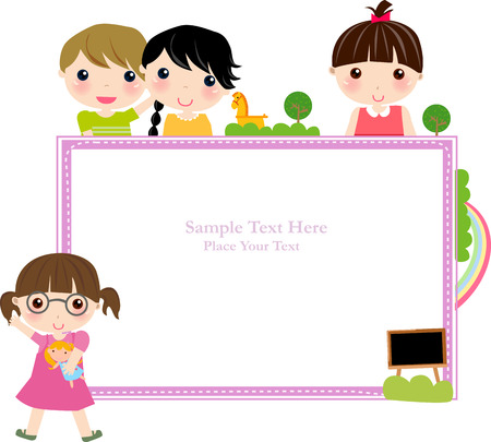 classmate: Illustration of cute group of children and frame