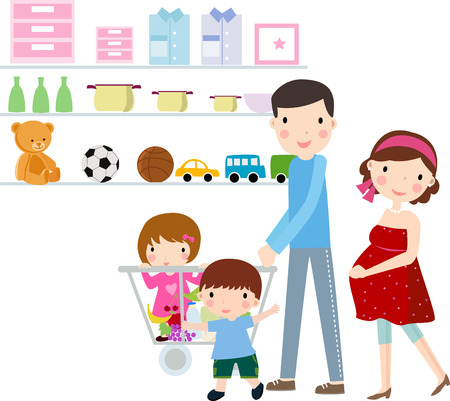 mujer en el supermercado: Ilustración de una feliz familia y compras  Vectores