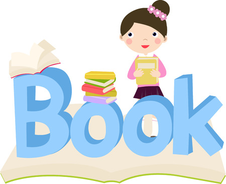 clasp: Illustration of cute girl with book and book word