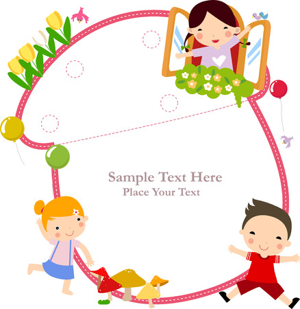 preschool child: Illustration of cute group of children and frame
