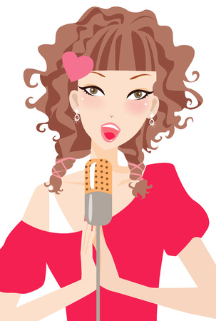 karaoke: Illustration of a beauty girl-sing a sang