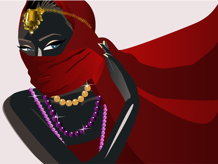 Illustration of a beauty India girls  with red mask Vector