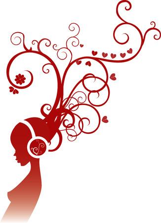 headphones woman: Vector illustration of girl listening to music