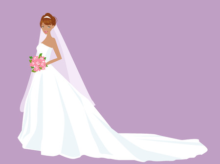 Illustration of a pretty girl readying for wedding Vector