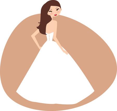 Illustratie van een mooi meisje klaarmaken voor bruiloft Vector Illustratie