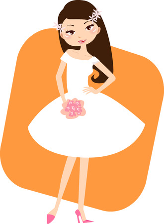 fiancee:  Illustration of a pretty girl readying for wedding