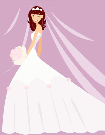 cartoon bouquet:  Illustration of a pretty girl readying for wedding