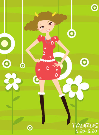 foretell: Illustraon of  fashion horoscope  taurus  cute funny girl  Illustration