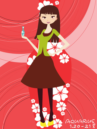 foretell: Illustraon of  fashion horoscope aquarius cute funny girl