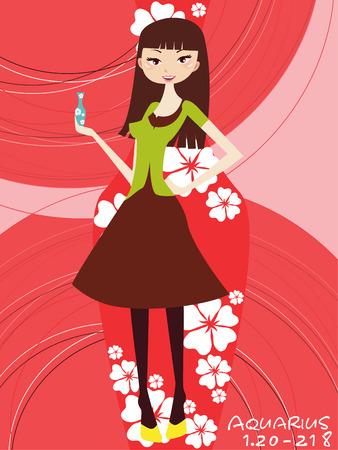 firmament: Illustraon of  fashion horoscope aquarius cute funny girl