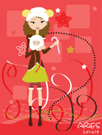 sign  childhood: Illustraon of  fashion horoscope Aries cute funny girl