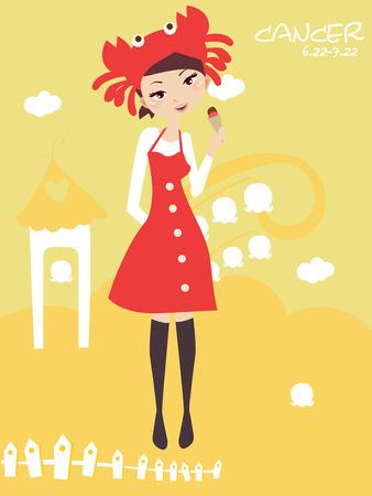 Illustraon of  fashion horoscope cancer cute funny girl  Vector
