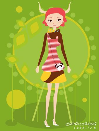Illustraon of  fashion horoscope capricornus  cute funny girl  Vector