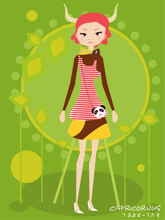 capricornus: Illustraon of  fashion horoscope capricornus  cute funny girl