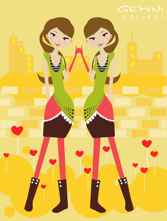 Illustraon of  fashion horoscope gemini  cute funny girl  Vector
