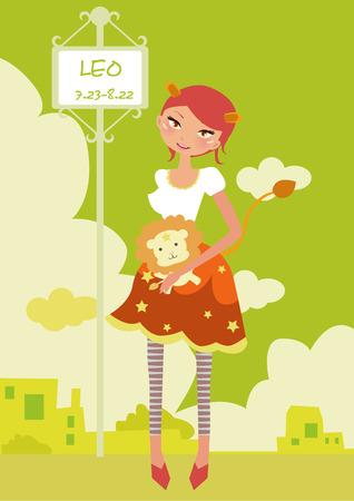 Illustraon de moda Horóscopo leo lindo funny girl  Ilustración de vector