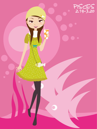 Illustraon of  fashion pisces  scorpio cute funny girl  Stock Vector - 8069947