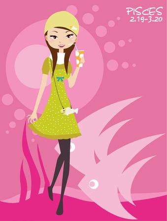 Illustraon of fashion pisces scorpio cute funny girl