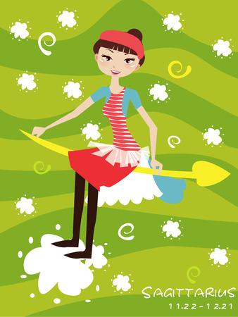 Illustraon of  fashion horoscope sagittarius  cute funny girl  Vector