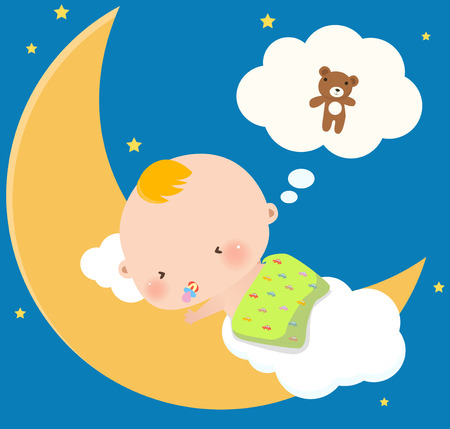 dreaming girl: Illustraon of a cute little baby boy sleeping Illustration