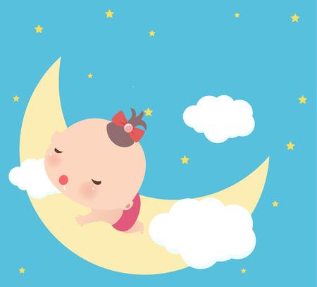 Illustraon d'une petite fille mignonne endormie