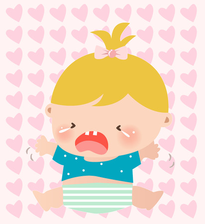 Illustraon of a cute little baby girl crying Vector