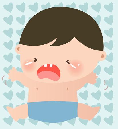 Illustraon of a cute little baby boy crying Vector